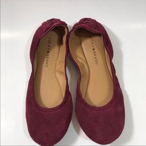 Lucky Brand Shoes - Lucky Brand Maroon Suede Slip On Ballet Flats